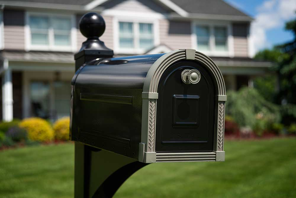 Brunswick Decorative Mailbox on Lawn