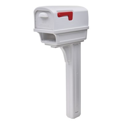 Gentry white mailbox with post