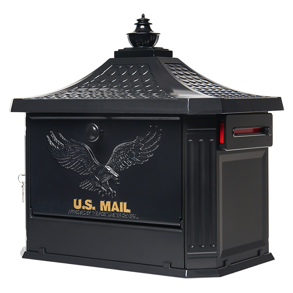 Hamilton Black Post Mount Mailbox