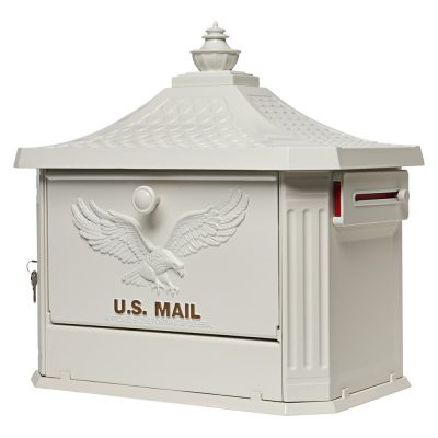 Hamilton White Post Mount Mailbox