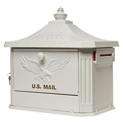 Hamilton White Post Mount Mailbox