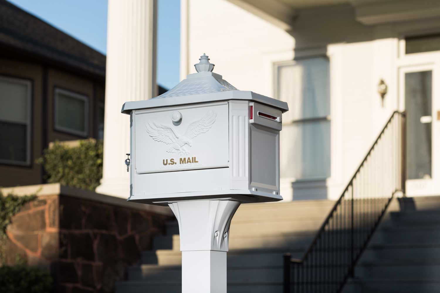 White mailbox and mailbox post