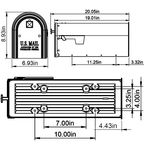 EM110GM0 mailbox dimensions