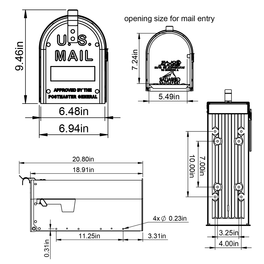 Aluminum mailbox size and dimensions